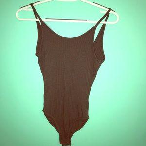 Dark Gray Thong Bodysuit